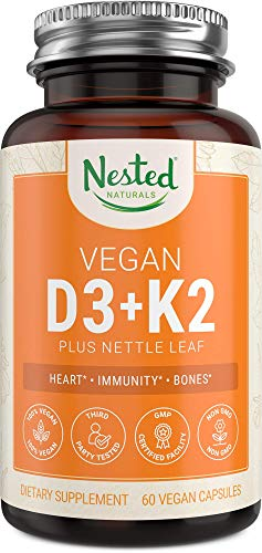 Vegan Vitamin D3-K2 | 5000 IU Vitamin D3 from Lichen with 100 mcg Vitamin K2 MK-7 from Chickpeas | Supports Immune System, Healthy Heart and Strong Bones | 60 Easy to Swallow D3K2 Capsules