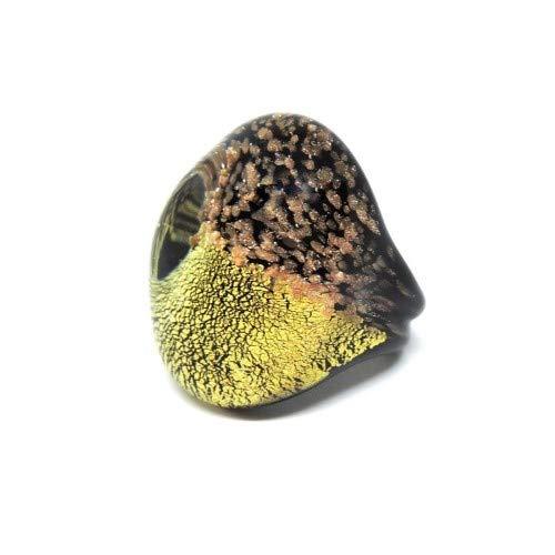 Women's Ring Murano Glass Original Black Gold 24Kt Aventurine Gift Box yellow
