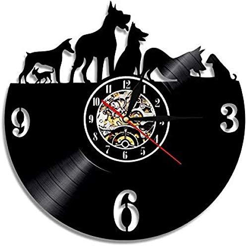 Reloj de Pared de Vinilo Reloj de Pared con Disco de Vinilo para Perro Decoración del hogar Fonógrafo de Animales Reloj Creativo Regalo Hecho a Mano para