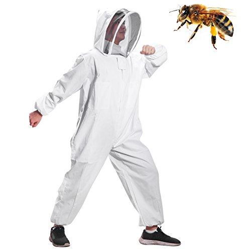 ONEVER Costume Apiculture, Veste Pliable Super Épaisse Pliable Blanc, Combinaison de Coton Apiculteur Bee Combinaison Smock (XL)