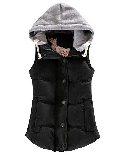 Mujer Chaleco Acolchado by CNBOY, Otoño Invierno Elegantes Sin Mangas Camisolas Ropa Chaleco Retro Casual Cómodo con Cremallera Chaqueta con Capucha (Negro, L)