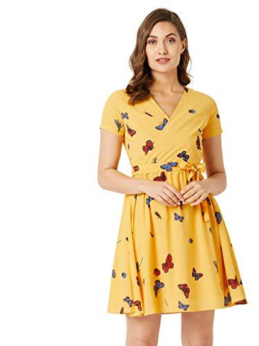 Miss Chase Women's Yellow Mini Printed Wrap Dress(MCAW19D14-18-164-03,Yellow,Small)
