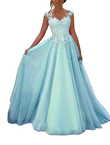 NUOJIA Damen Prinzessin Ballkleider Lange mit Appliques Party Kleid Blau 32