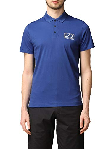 Polo Uomo in jersey di cotone con logo Blu SIZE:XL