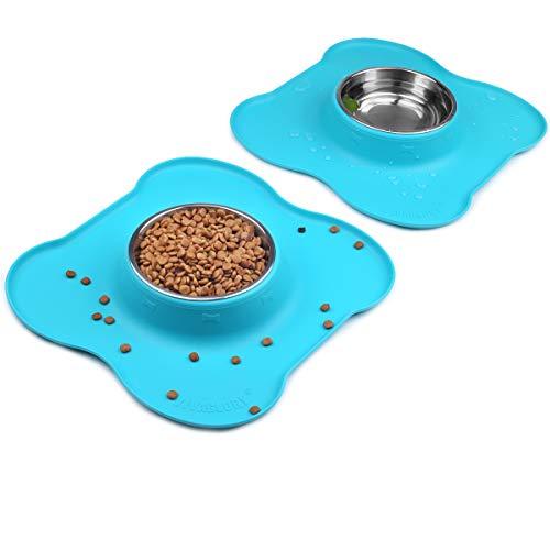 Napfunterlage für Hunde und Katzen, Silikon Hundenapf Fressnapf katzennapf Doppel Näpfe aus Edelstahl mit Rutschfest silikon tablett fressnapf Haustier Lebensmittel wassernapf, 400ml x2, Türkis