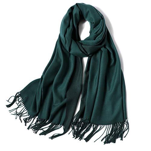 SOJOS Sciarpa Donna Uomo Inverno Autunno Bicolore Sensazione di Lana Cashmere Artificiale Caldo Scialle SC302 Verde & Verde Chiaro