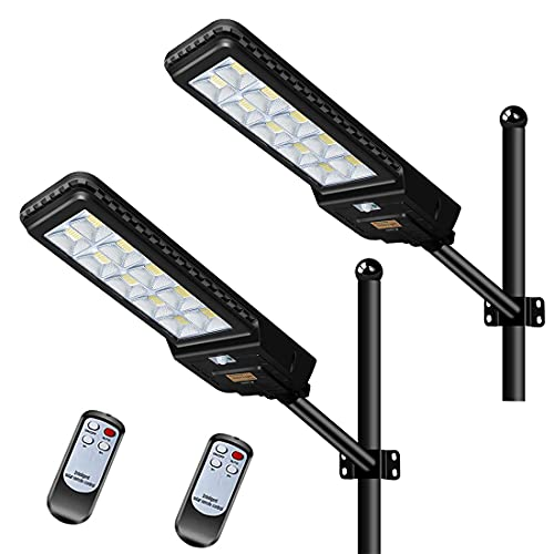 44000mah 2 Pack LED Solar Street Lights 500W with Remote Control Dusk to Dawn Flood Light, Waterproof, Ideal for Parking Lot, Stadium, Yard, Garage and Garden
