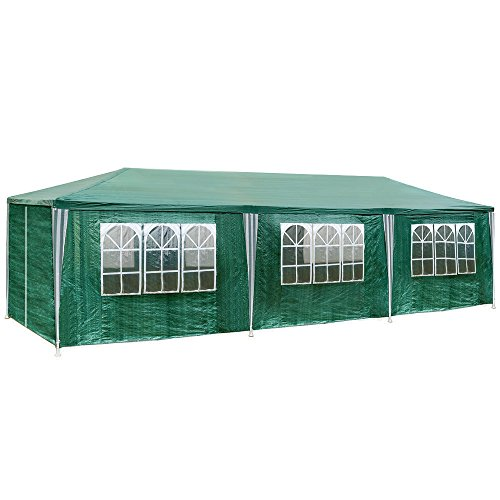 TecTake Gazebo tendone tenda padiglione da giardino per eventi il campeggio festa della birra con parti lateralin 3x9m 9x3m - disponibile in diversi colori - (Verde | no. 401292)