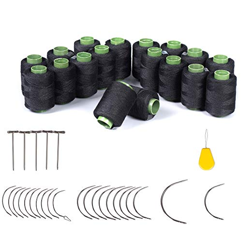 Hair Weave Needle and Thread Kit, 18 Rolls Black Weaving Thread, 20 Wig T Pins, 20 C Curved Needles and 1 Needle Threader for Wig Sewing, Blocking Knitting, Modelling and Crafts (59)