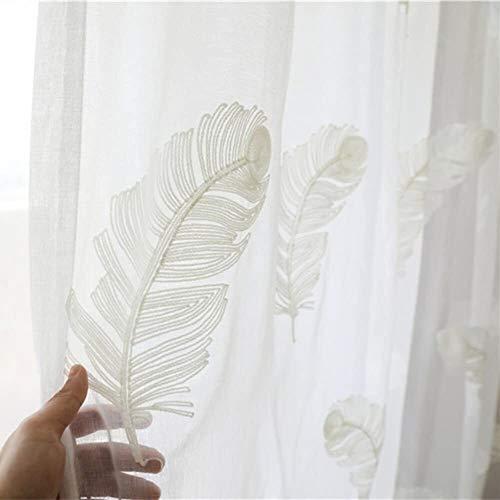 Fly scherm deur Borduurwerk Sheer gordijnen, Veren lichtgewicht gordijnen Simple American Rustic for de woonkamer Study Balcony Invisible zand gordijn (Color : White, Size : 400x265cm(157x104inch))