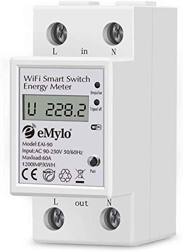 EMylo Smart Medidor de energía digital monofásico, pantalla LCD con control remoto inalámbrico WiFi 60A 90-250V 60Hz Aplicación para teléfono inteligente Medidor de energía digital