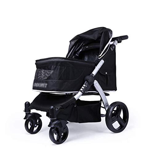 TOMSSL Neuer Kinderwagenwagen, Zusammenklappbarer Wagen for Hunde-Vierrad-Stoßdämpfer, Einknopf-Montage for Kinderwagen, Gewicht 35 Kg, Schwarz