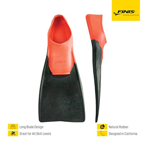 FINIS Long Floating Fins , Red/Black, S (US Male 3-5 / US Female 4-6)