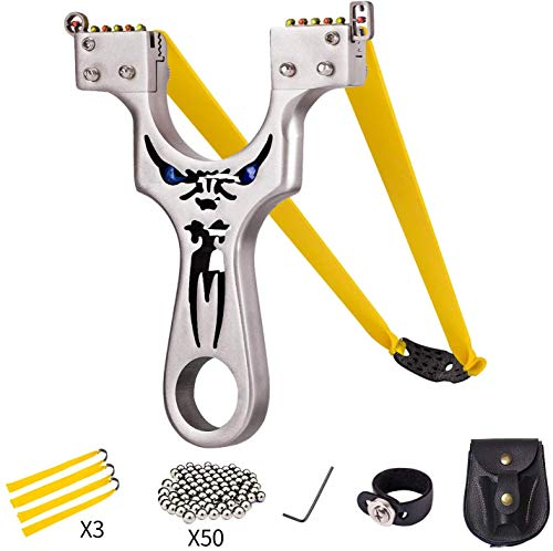 Slingshot,Metal Slingshot Professional Hunting Slingshot with Heavy Duty Launching Bands, High Velocity Catapult (Deluxe Edition1)