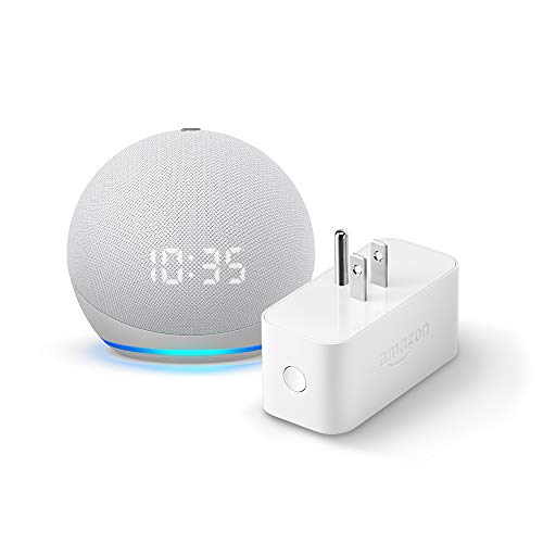 All-new Echo Dot (4th Gen) with clock + Amazon Smart Plug | Glacier White