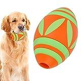 Juguete de Rugby de Silicona para Mascotas, Juguete de fútbol Luminoso, Juguete de masticación Interactivo para Limpieza de Dientes con función de alimentación para Perros Mascotas(Naranja)