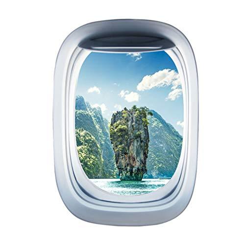 Garneck pegatinas de pared de ventana de avión pegatinas de ala de avión ojo de buey ventana de avión se adhiere calcomanía de avión decoración de pared de aviación decoración del hogar