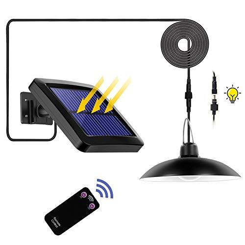 Luz Solar, Foco Solar, Impermeable IP65 Luz del Sensor Solar,Lampara Solar con Mando a Distancia Y 3M cable, para Exterior/Interior, Dormitorio, Jardín (Negro, Cabeza única- Blanco Luz)