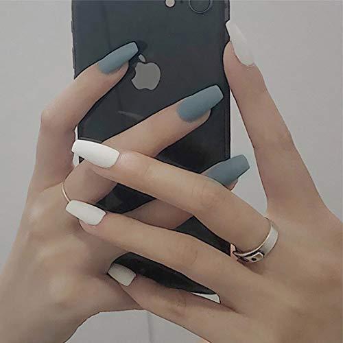Handcess Coffin Künstliche Fingernägel, matt, mittelgroß, Weiß und Grau, Ballerina-Druck auf Nägel, Acrylkunst, volle Abdeckung, für Frauen und Mädchen(Weiß-2)