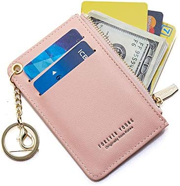 CYANB Small Wallets for Women Slim Leather Card Case Holder Wallet Coin Change Purse with Keychain product image