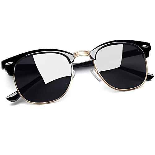 Joopin Occhiali da Sole Polarizzati per Donna e Uomo Protezione UV400, Classico Unisex Occhiali Mezza Montatura in Metallo Rettangolari Vintage (Nero Grigio)
