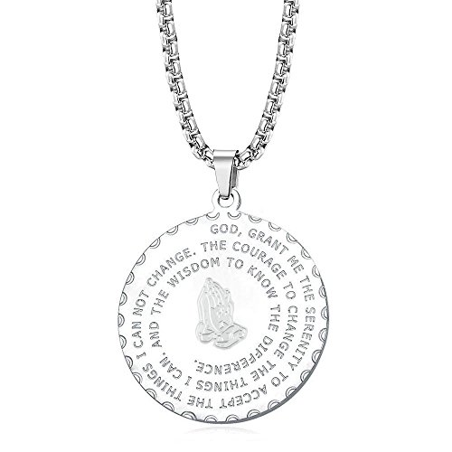 KUIYAI Serenity Prayer Necklace God Grant Me The Serenity with Praying Hands Necklace Engraved Cross Christian Jewelry (Silver)