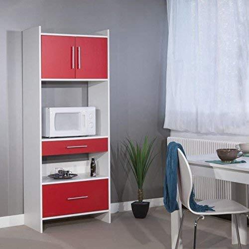 TemaHome 8138A2179A80 Aparador alto con 2 cajones/2 puertas Madera blanca/roja 70 x 180 x 40 cm