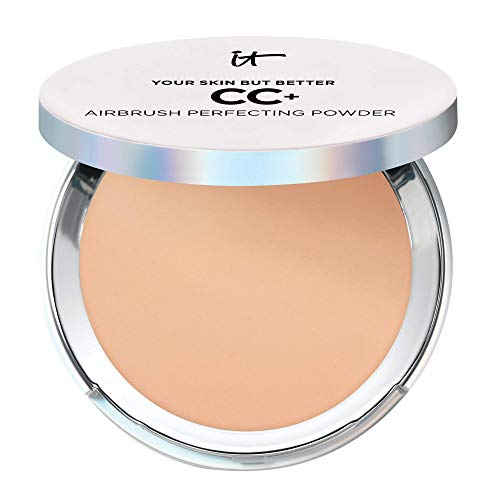 IT Cosmetics Your Skin But Better CC Airbrush Perfecting Powder  Medium W  Camouflage Pores Dark Spots amp Imperfections  With Peptides Silk Niacin amp Hydrolyzed Collagen  033 oz