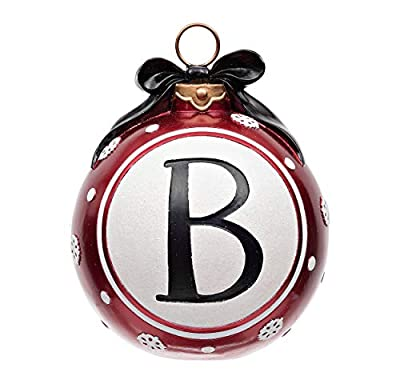 Christmas Décor Ornament Statue   Snowflake and Bow Design, Monogram Letters   Personalized Holiday Home Decor for a Unique, Fun Christmas Decoration   Works in Any Room   11L x 11W x 13.25H Inches