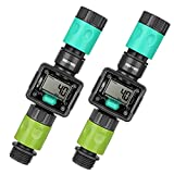 [2 Pack] RESTMO Digital Water Flow Meter, Measure Gallon/Liter Consumption and Flow Rate for Outdoor Garden Hose, Ideal for RV Hose, Lawn Sprinkler and Hose Nozzle Sprayer, Quick Connectors Included