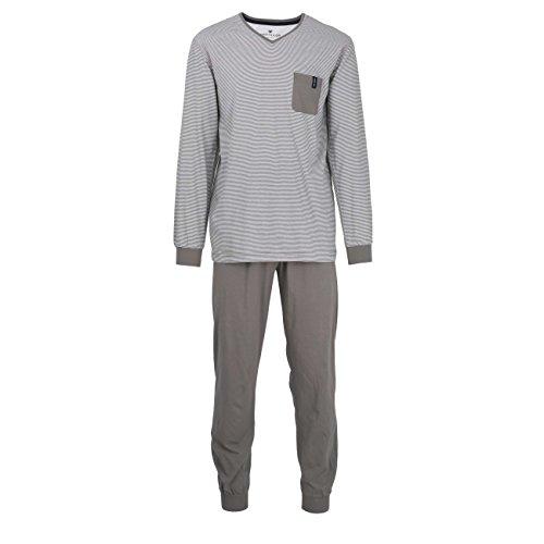 TOM TAILOR Herren Pyjama, Schlafanzug, Shirt und Hose, Langarm, Baumwolle, Single Jersey, grau, gestreift 54