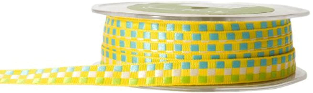 May Arts 3/8-Inch Wide Ribbon, Yellow Multicolored Check