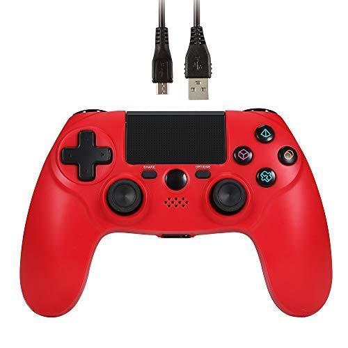 Jevogh Manette PS4 sans fil Dual Shock 4 Manette de Jeu PS4 Manette Bluetooth pour Playstation 4 Rechargeable (Fabriqué par Tiers) -Rouge