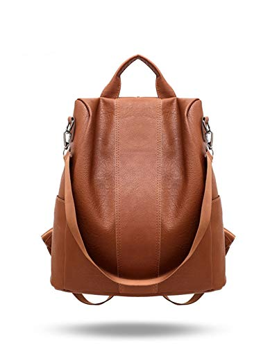 Women Backpack Purse Leather Anti-Theft Backpack Casual Satchel Shoulder Bag for Girls… (Brown)