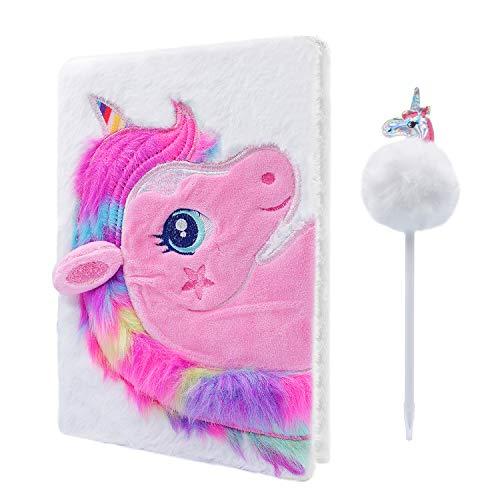Cuaderno de peluche de unicornio, Cyiecw Magic Diary para niñas Lovely Unicorn Fluffy Notebook 160 páginas para escribir y dibujar regalos de cumpleaños y Navidad para niñas (blanco)