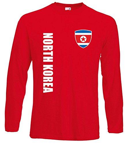 aprom Nordkorea Langarm T-Shirt Trikot LS-Spa Rot Longsleeve (L)