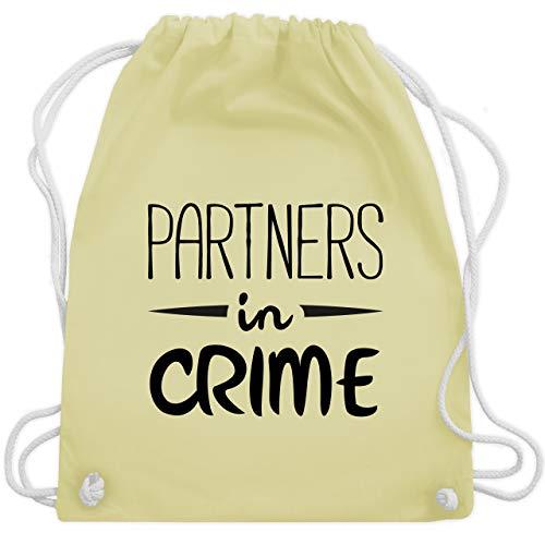 Shirtracer Partner-Look Familie Papa - Partners in crime - Unisize - Pastell Gelb WM110 - Turnbeutel und Stoffbeutel aus Baumwolle