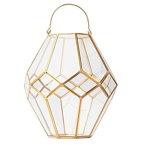 Volldra Farol de cristal dorado, portavelas decorativo, té, decoración casa moderna, jarrones, Ramadán, oriental, lámpara farol oriental.