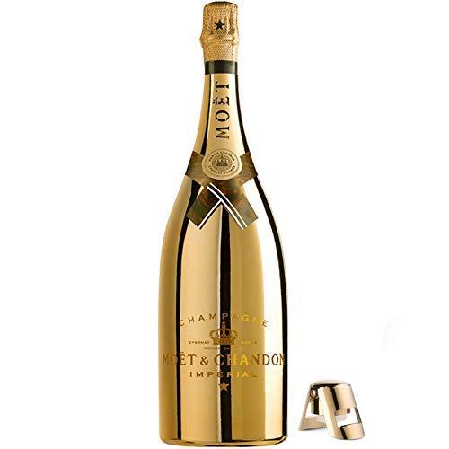 Moet & Chandon Imperial Champagner Goldfarbene Bright Night Leucht-Flasche mit LED Licht Beleuchtung Limited Edition Magnum inkl. Edelstahl-Flaschenverschluss (1 x 1.5 l)