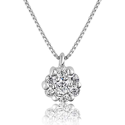 MILLE AMORI ∞ Collar para mujer oro con colgante de oro y diamante ∞ Oro blanco de 9 quilates 375 ♥ Diamantes de 0.24 quilates ∞ Cadena veneciana 42 cm ∞ Florence