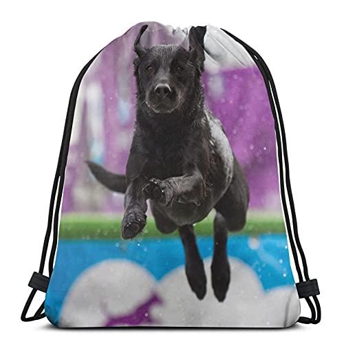 Mochila unisex con cordón, con diseño de perro y amiga, bolsa de cincha de poliéster, impermeable, para deporte, gimnasio, mochila informal para mujer