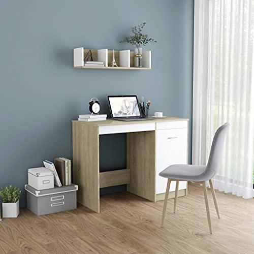 HUANGDANSP Escritorio aglomerado Color Roble Sonoma y Blanco 100x50x76 cm Mobiliario Mobiliario de Oficina Escritorios