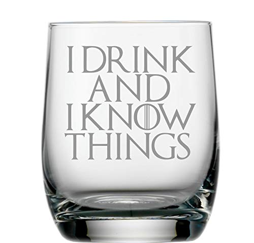 """Whisky-Glas, inspiriert durch Game of Thrones, mit englischem Zitat: """"I Drink and I Know Things"""""""