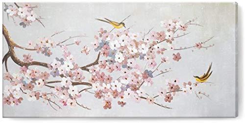 TBMX Öl auf Leinwand Gemälde, handgemalte Moderne abstrakte strukturierte Blumen und Vögel große Wandkunst Gemälde, Dekor Kunst,Rahmenlos (120 x 60 cm)