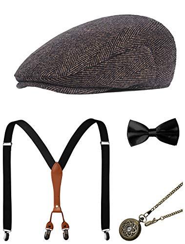 Zivyes Années 1920 Accessoires Hommes Gatsby Gangster Costume Accessoires Ensemble Manhattan Fedora Chapeaux Bretelles Bow Tie Montre De Poche (1-Coffee)