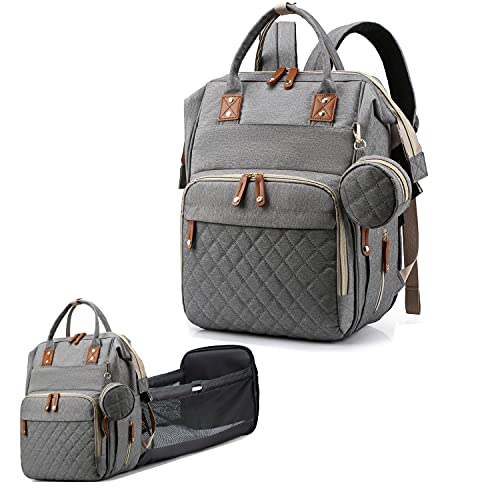 Diaper Bag Backpack,Baby Bag for Boys & Girls Diaper Bags Tote for Mom and Dad Travel Foldable Baby Bed Nappy Backpack with Changing Pads Large Waterproof Travel Backpack (Grey)