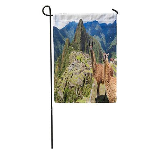 Zome Lag Garten Fahne Vertikal,Garten Flagge,Saisonale Gartenflaggen,Welcome Gartenflagge Blaues Macchu-Lama In Der Historischen Verlorenen Stadt Machu Picchu Peru Landschaftsanden