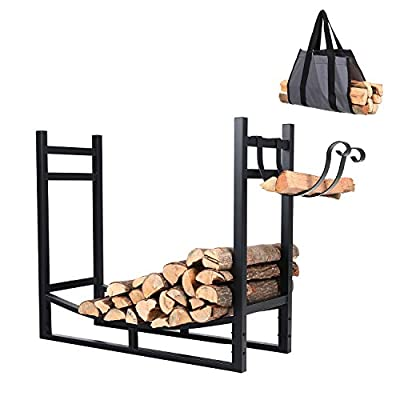 PHI VILLA Heavy Duty Firewood Racks Indoor/Outdoor Log Rack with Kindling Holder, 30 Inches Tall, Black