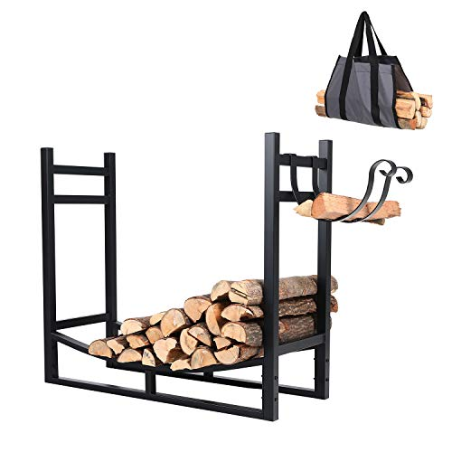 PHI VILLA Heavy Duty Firewood Racks Indoor/Outdoor Log Rack with Kindling Holder, 30 Inches Tall,...