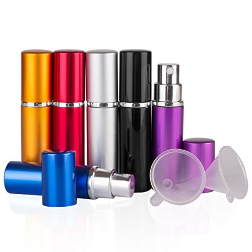 DE 6pcs 10ml Portable Mini Refillable Perfume Scent Aftershave Atomizer Empty Spray Bottle with 2 Funnel Filler for Travel Purse